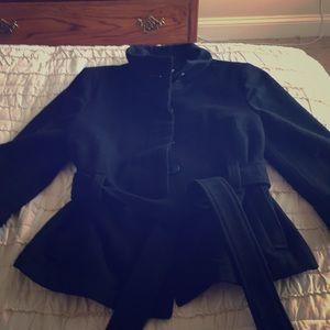 Like new black old navy coat with belt. Size xs